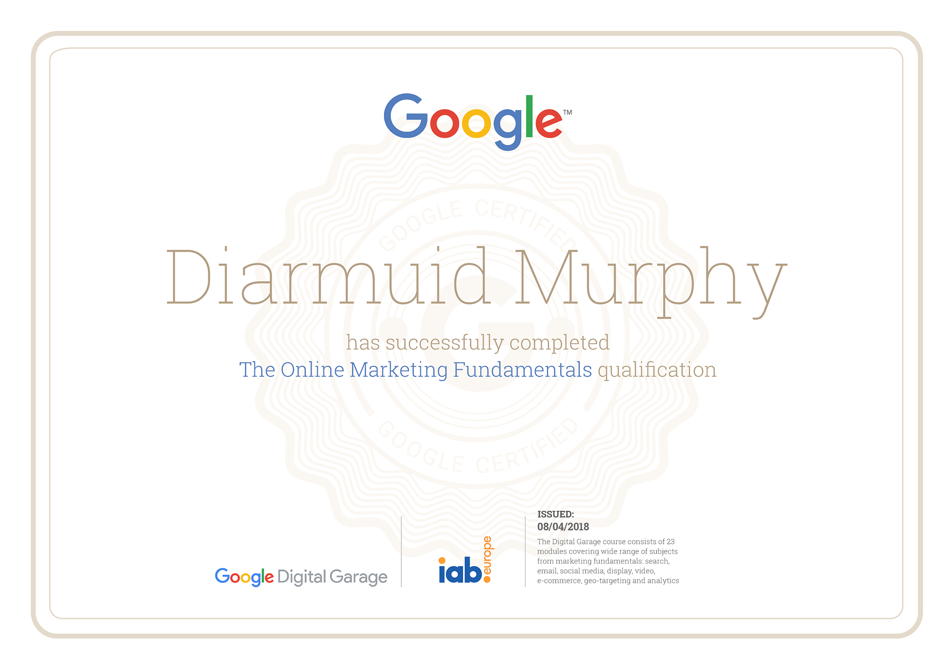 Diarmuid Murphy Google Online Marketing Certification