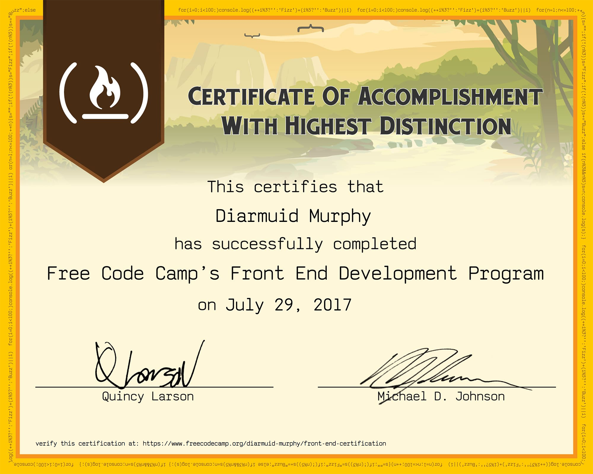 Diarmuid Murphy freeCodeCamp Front End Development Certification